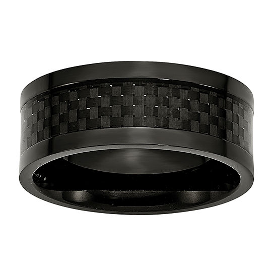 Mens 9mm Titanium Black Ion-Plated Wedding Band