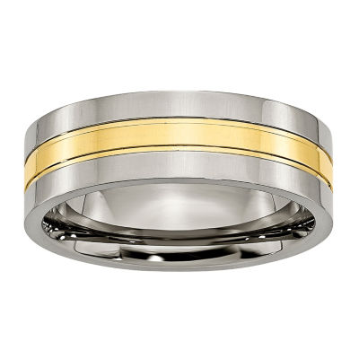 Mens 7mm Titanium & Ion-Plated Plated Wedding Band