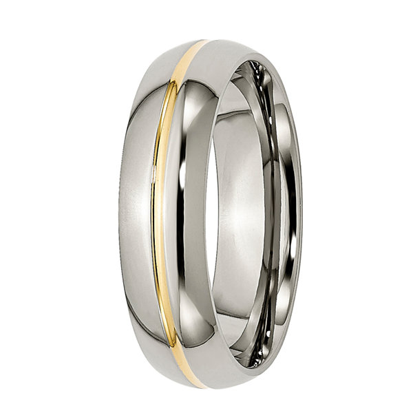 Mens 6mm Titanium & Ion-Plated Wedding Band