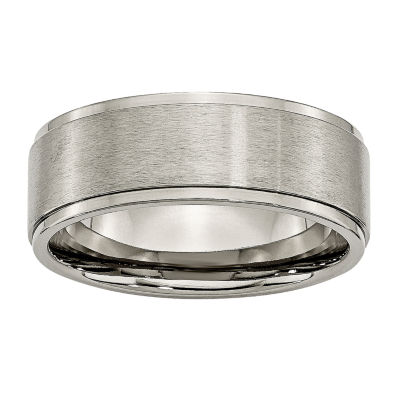 Mens 8mm Titanium Wedding Band