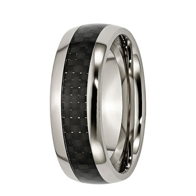 Mens 8mm Titanium & Black Carbon Fiber Wedding Band