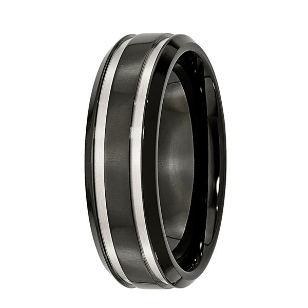 Mens 7mm Black Ion-Plated Titanium Wedding Band