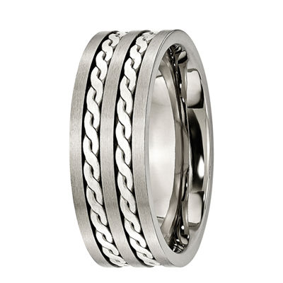 Mens 8mm Titanium & Sterling Silver Braided Inlay Wedding Band