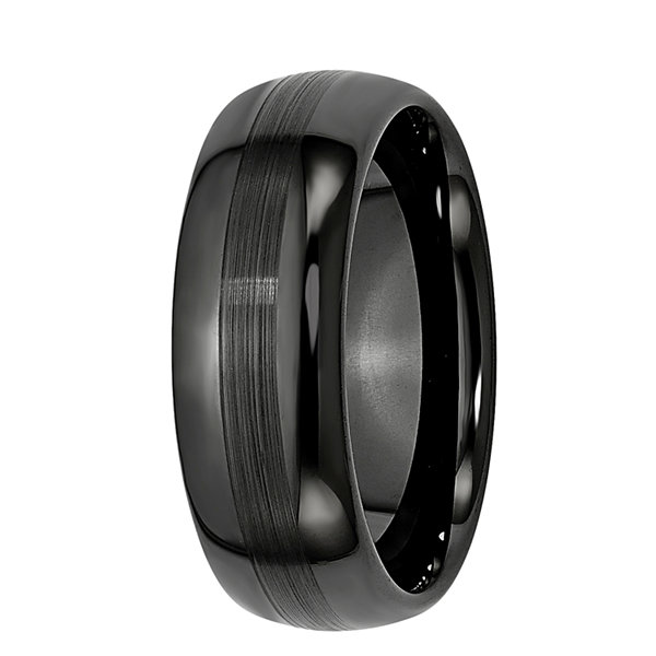 Personalized Mens 8mm Black Ceramic Wedding Band