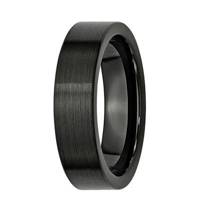 Personalized Mens 6mm Black Ceramic Wedding Band