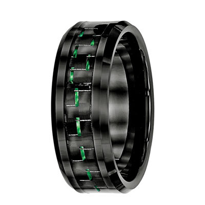 Personalized Mens 8mm Black Ceramic & Green Carbon Fiber Wedding Band