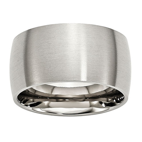 Personalized Mens 12mm Stainless Steel Wedding Band