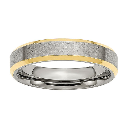 Personalized Mens 5mm Stainless Steel & Yellow Ion-Plated Wedding Band