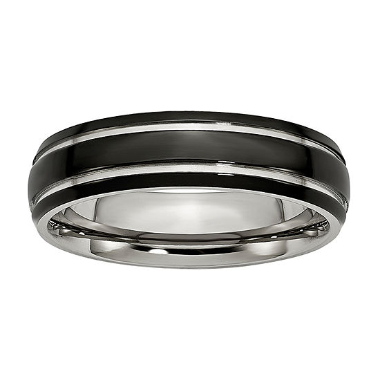 Personalized Mens 6mm Stainless Steel & Black Ion-Plated Wedding Band