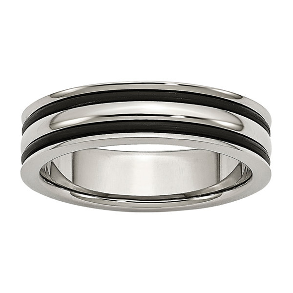 Personalized Mens 6mm Stainless Steel & Black Rubber Wedding Band
