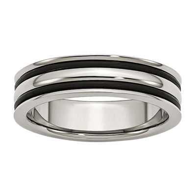 Personalized Mens 6mm Stainless Steel Black Rubber Wedding Band