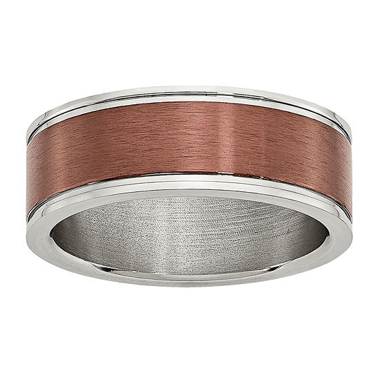Personalized Mens 8mm Brown Ion-Plated Stainless Steel Wedding Band