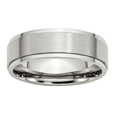 Personalized Mens 7mm Stainless Steel Wedding Band