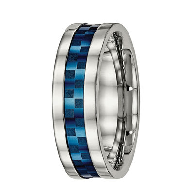 Personalized Mens 8mm Blue Ion-Plated Stainless Steel Wedding Band