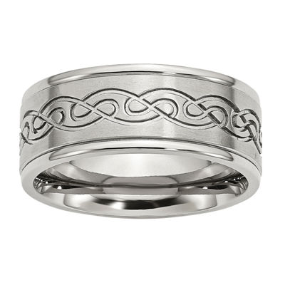Personalized Mens 9mm Stainless Steel Wedding Band