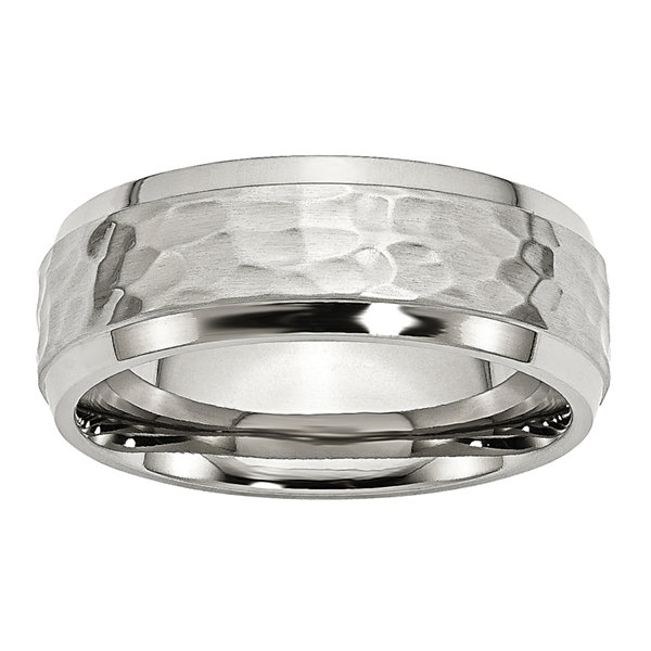 Personalized Mens 8mm Stainless Steel Wedding Band