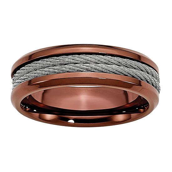 Personalized Mens 7mm Stainless Steel & Brown Ion-Plated Wedding Band