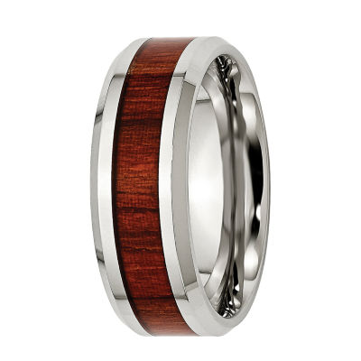 Personalized Mens 8mm Stainless Steel & Wood Inlay Wedding Band