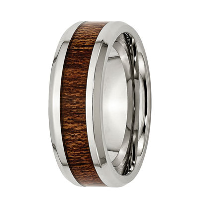 Personalized Mens 8mm Stainless Steel & Brown Wood Inlay Wedding Band