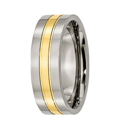 Personalized Mens 7mm Titanium Yellow Ion-Plated Wedding Band