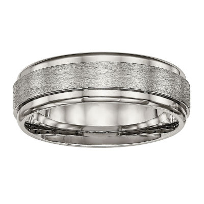 Personalized Mens 7mm Titanium Wedding Band