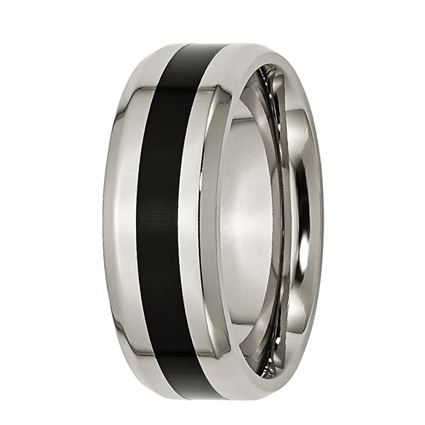 Personalized Mens 8mm Titanium & Black Enamel Wedding Band