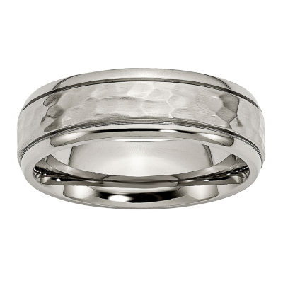 Personalized Mens 7mm Hammered Titanium Wedding Band