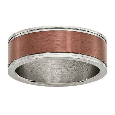 Personalized Mens 8mm Brown Ion-Plated Titanium Wedding Band