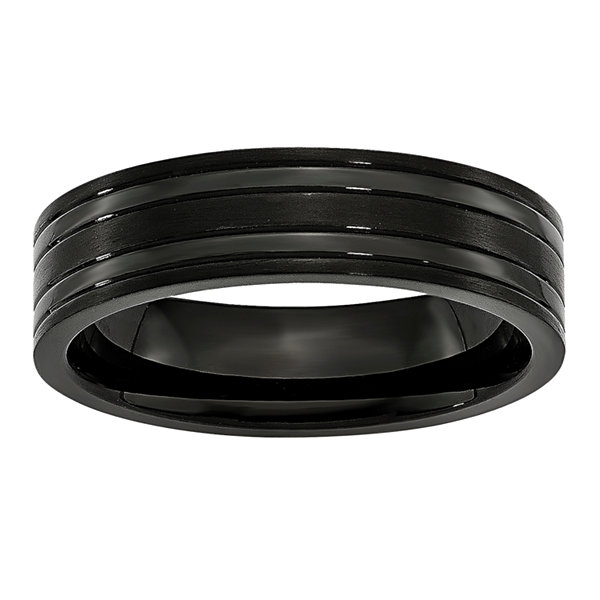 Personalized Mens 6mm Black Ion-Plated Titanium Wedding Band