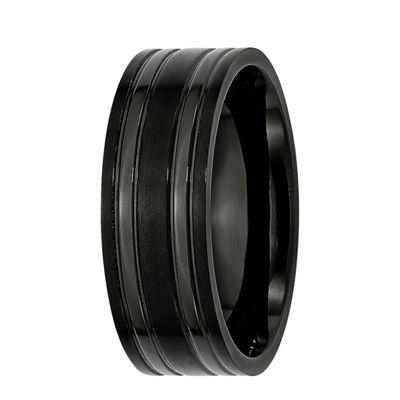 Personalized Mens 8mm Black Ion-Plated Titanium Wedding Band
