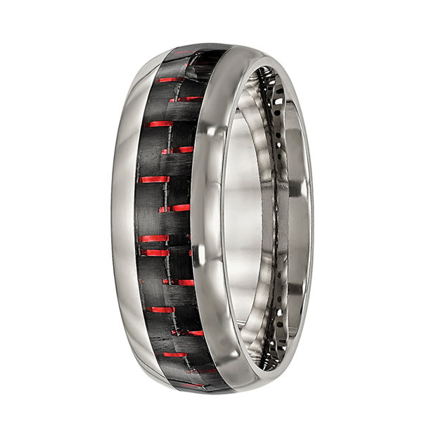 Personalized Mens 8mmTitanium Black & Red Carbon Fiber Inlay Wedding Band