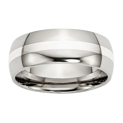 Personalized Mens 8mm Stainless Steel &  Steel Sterling Silver Inlay Wedding Band