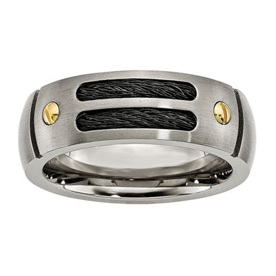 Personalized Mens 8mm Black & Yellow Ion-Plated Titanium Wedding Band