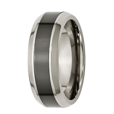 Personalized Mens 7.5mm Titanium & Black Ceramic Inlay Wedding Band