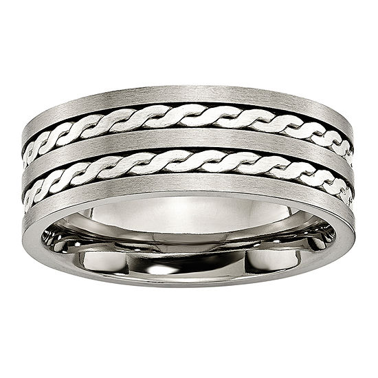 Personalized Mens 8mm Titanium & Sterling Silver Braided Inlay Wedding Band