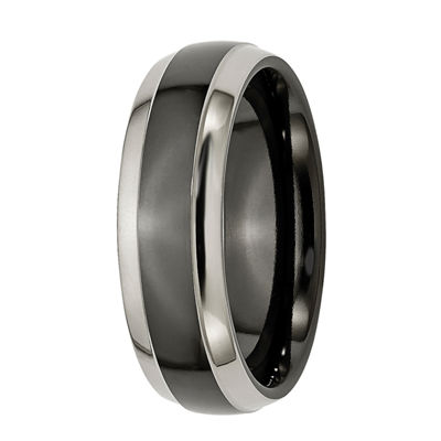 Personalized Mens 7mm Two-Tone Titanium Wedding Band