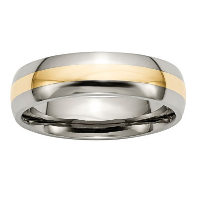 Personalized Mens 6mm Titanium & 14K Yellow Inlay Wedding Band