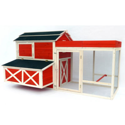 Zoovilla™ Red Barn Chicken Coop with Rooftop Planter