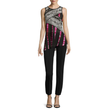 jcpenney.com | nicole by Nicole Miller® Sleeveless Mix Print Top or Ankle Pants