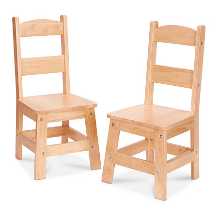 Melissa & Doug Wooden Chair Pair - Natural Kids Chair, One Size , White