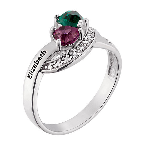 Personalized Sterling Silver Couples Birthstone Ring With Diamond Accents