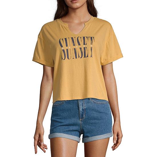Cut And Paste Womens Split Crew Neck Short Sleeve Graphic T-Shirt - Juniors