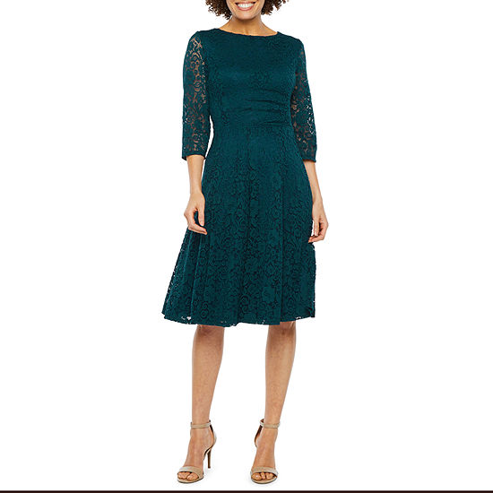 Studio 1 3/4 Sleeve Lace Fit & Flare Dress
