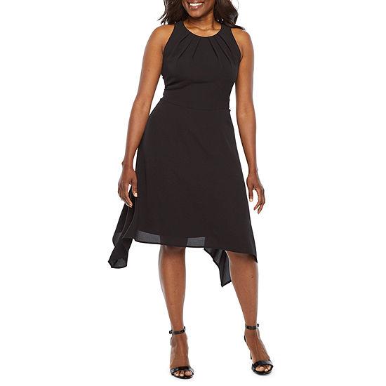 London Style Sleeveless Fit & Flare Dress-Petite