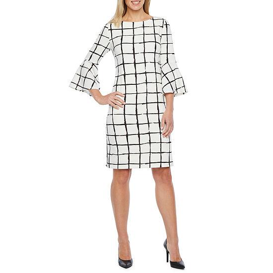 Liz Claiborne 3/4 Bell Sleeve Windowpane Sheath Dress