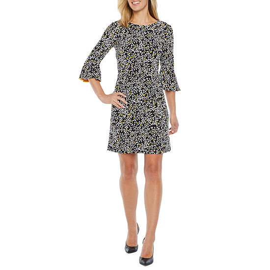 Liz Claiborne 3/4 Bell Sleeve Floral Puff Print Shift Dress