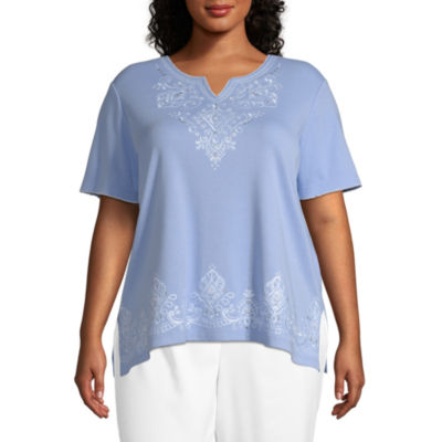 Summer Wind Alfred Dunner Scroll Embroidered Yoke Tee - Plus