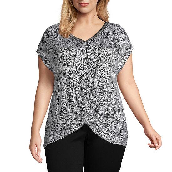 Como Blu Womens V Neck Short Sleeve Knit Blouse-Plus