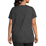 Xersion Plus-Womens Round Neck Short Sleeve T-Shirt