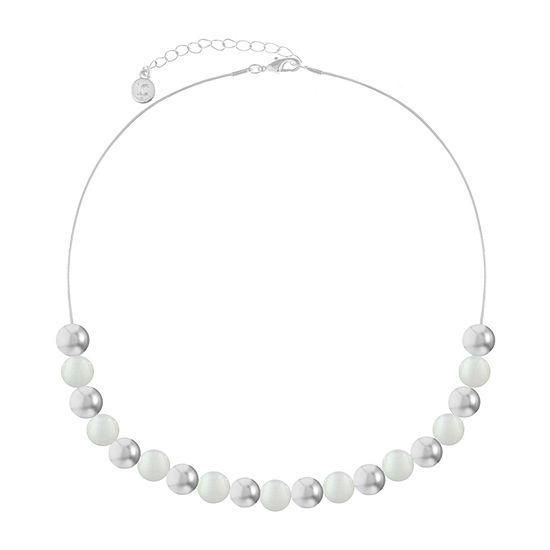 Liz Claiborne White 17 Inch Snake Collar Necklace
